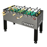 Tornado Foosball Tables<br /><br />This table can be delivered completely assembled and ready for play. Goalies, handles, and foosballs are provided at installation and replaced as needed while operated by Chalmette Amusement.<br /><br />Dimensions: 56-inches x 30-inches x 36-inches, weight 355lbs.